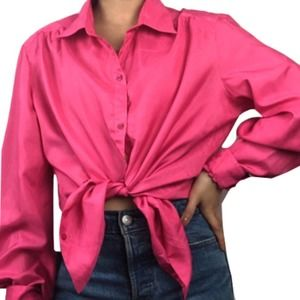 VTG 80s Hot Pink Button Down